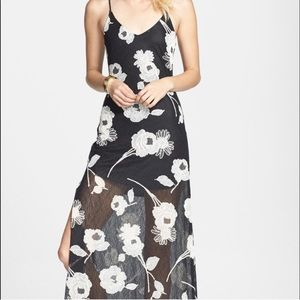 ASTR Floral Appliqué Lace Maxi Dress